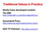 traditional values in practice