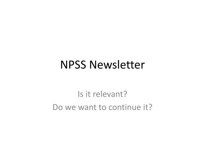 npss newsletter n.