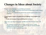 changes in ideas about society