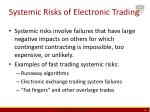 systemic risks of electronic trading