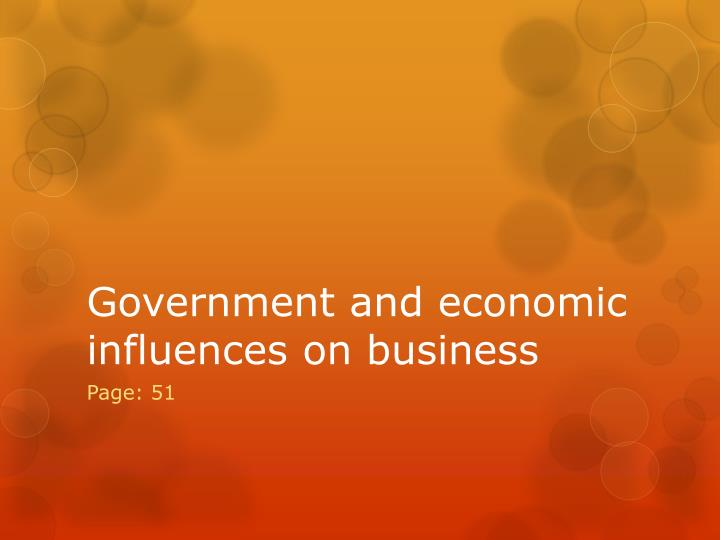 government and economic influences on business n.