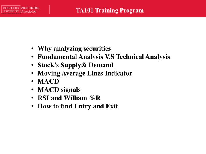 ta101 training program n.