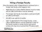 hiring a foreign faculty