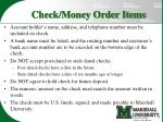 check money order items