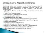 introduction to algorithmic finance