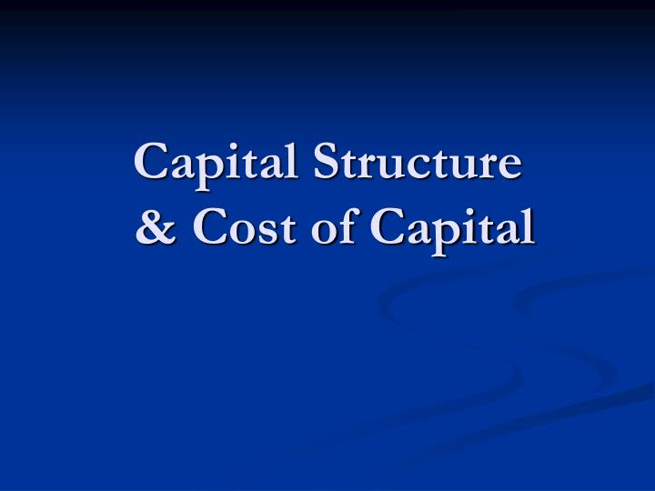 capital structure cost of capital n.
