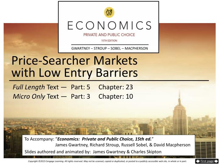 price searcher markets with low entry barriers n.