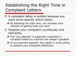 establishing the right tone in complaint letters