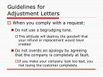 guidelines for adjustment letters