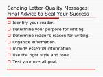 sending letter quality messages final advice to seal your success
