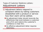 types of customer relations letters adjustment letters