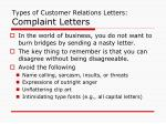 types of customer relations letters complaint letters
