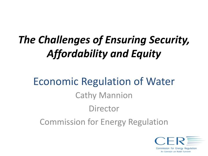 the challenges of ensuring security affordability and equity economic regulation of water n.