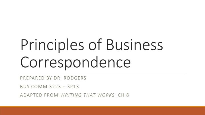 principles of business correspondence n.