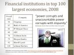financial institutions in top 100 largest economies 2008