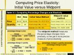 computing price elasticity initial value versus midpoint