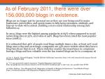 as of february 2011 there were over 156 000 000 blogs in existence
