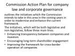 commission action plan for company law and corporate governance