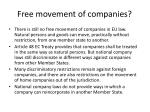 free movement of companies