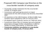 proposed 14th company law directive on the cross border transfer of company seats