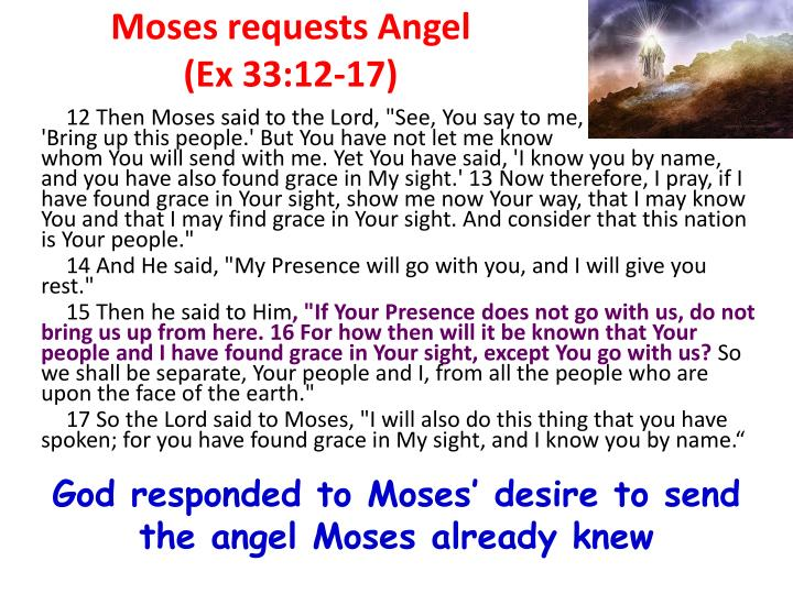 Moses requests Angel                      (Ex 33:12-17)