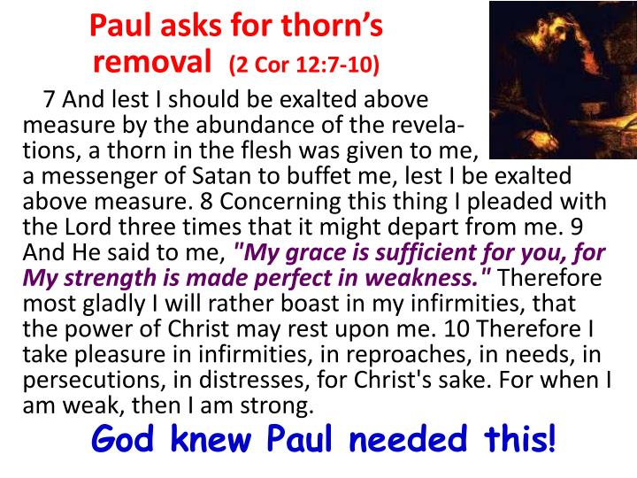 Paul asks for thorn's removal