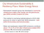 city infrastructure sustainability resiliency plans water energy nexus