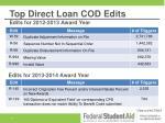 top direct loan cod edits edits for 2012 2013 award year
