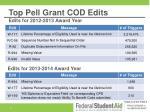 top pell grant cod edits edits for 2012 2013 award year