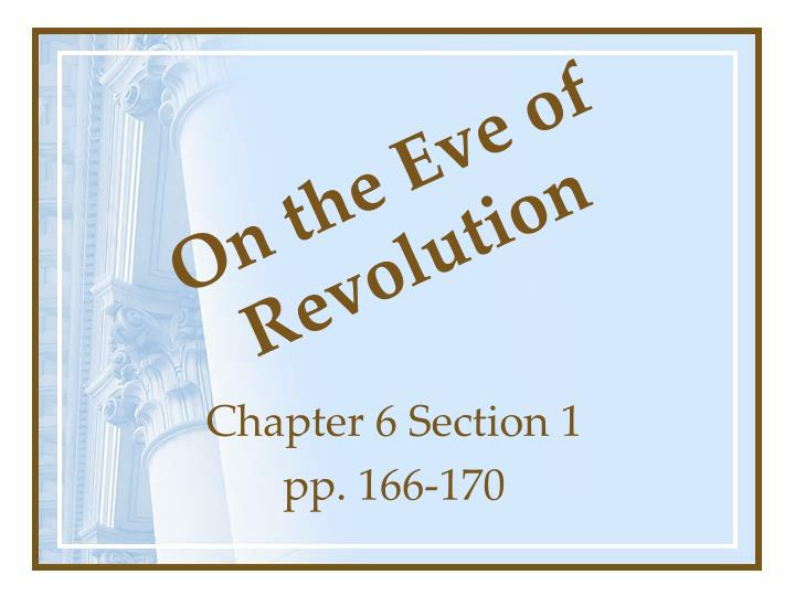 on the eve of revolution n.