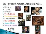 my favorite artists athletes are