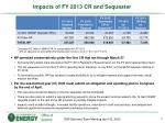 impacts of fy 2013 cr and sequester