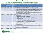 nuclear physics fy 2014 president s request summary by subprogram