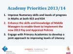 academy priorities 2013 14