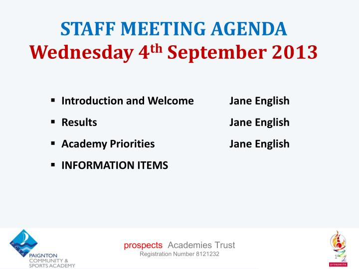 staff meeting agenda wednesday 4 th september 2013 n.