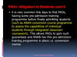paos o bligation to students cont d