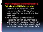 paos obligations to members cont d