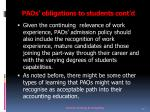 paos obligations to students c ont d