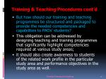 training teaching procedures cont d