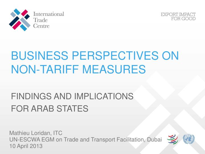 business perspectives on non tariff measures n.
