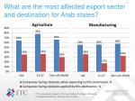 what are the most affected export sector and destination for arab states