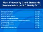 most frequently cited standards service industry sic 70 89 fy 11