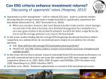 can esg criteria enhance investment returns discussing of opponents views hoepner 2013