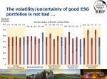 the volatility uncertainty of good esg portfolios is not bad