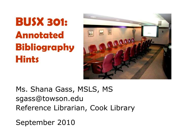 busx 301 annotated bibliography hints n.