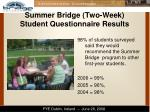 summer bridge two week student questionnaire results