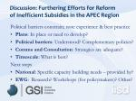discussion furthering efforts for reform of inefficient subsidies in the apec region