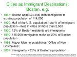 cities as immigrant destinations boston e g