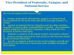 vice president of fraternity campus and national service