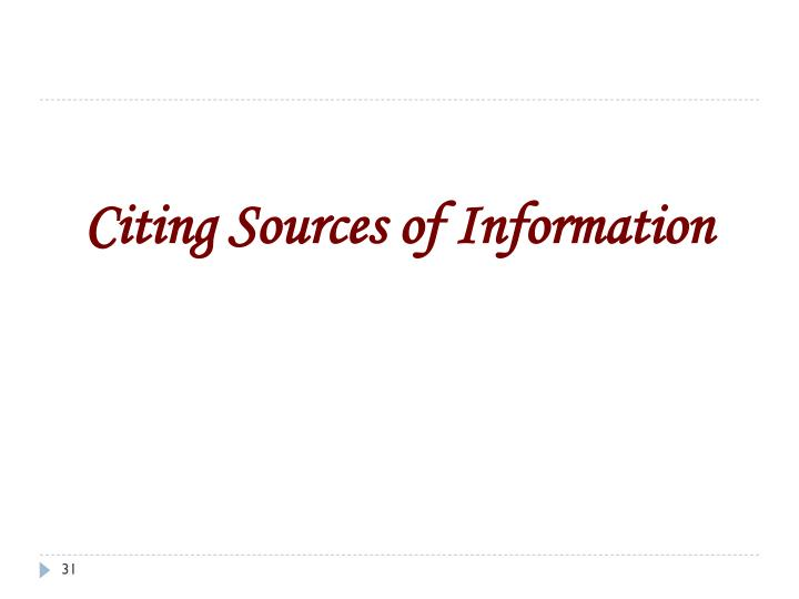 Citing Sources of Information